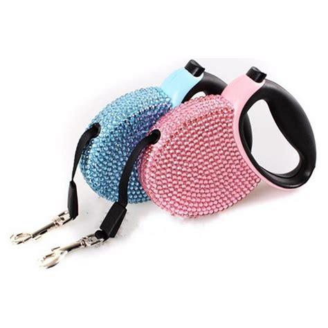 pet retractable leash blue pink rhinestone bling
