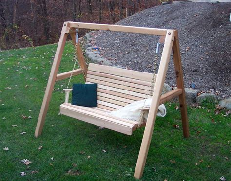 porch swing with stand red cedar royal highback porch swing w stand
