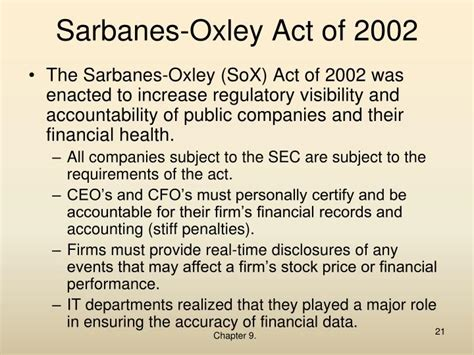 sarbanes oxley act of 2002 section 404 ppt เพ อการเร ยน powerpoint presentation id 7156585