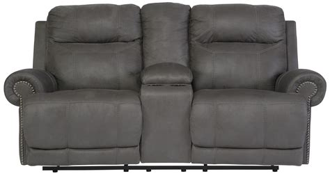 austere power reclining sofa signature design by ashley austere gray double reclining