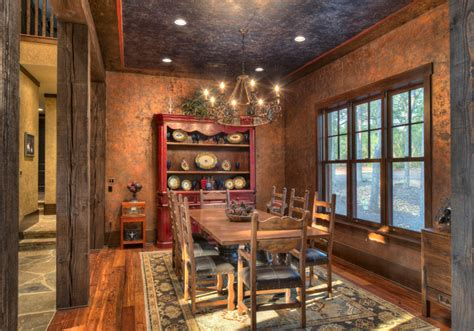 indian lakes mountain lodge style rustic dining room