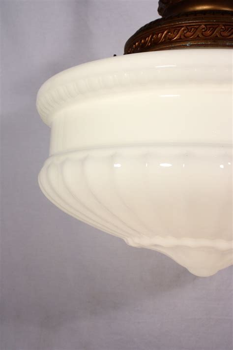 Milk Glass Light Fixtures Large Antique Pendant Light Fixture With Original Milk Glass Shade C 1910 Nc547 For Sale