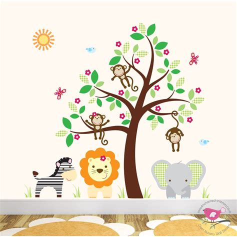 Deluxe Safari Nursery Wall Art Stickers Nursery Animal Wall Decals