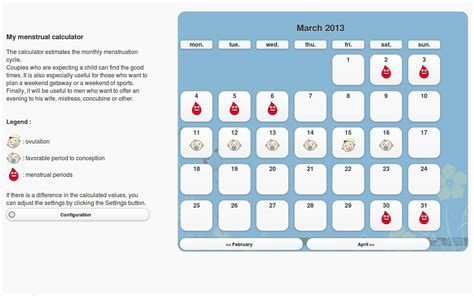 Menstruation Calendar Menstrual Cycle Calendar Calendar Template 2016