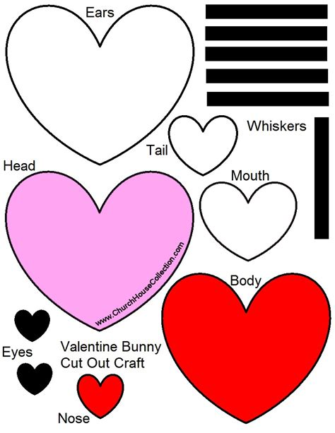 valentine s day bunny rabbit heart cutout craft for kids