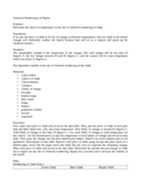 design a weathering experiment chemical weathering lab report chemical weathering lab