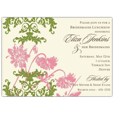 Floral Lace Pink And Green Bridesmaids Luncheon Invitations Paperstyle Bridesmaid Luncheon Invitations Template