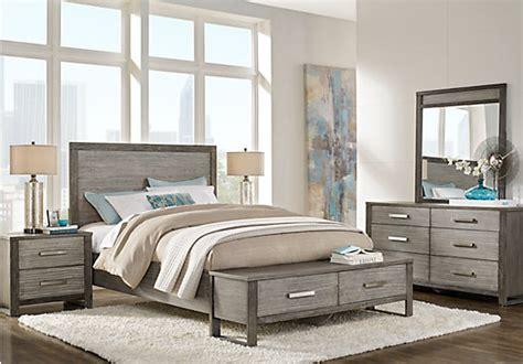 abbott gray  pc king panel bedroom  storage