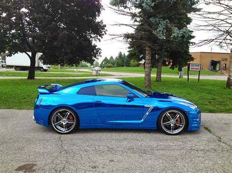 chrome nissan nissan gt r wrapped in blue chrome
