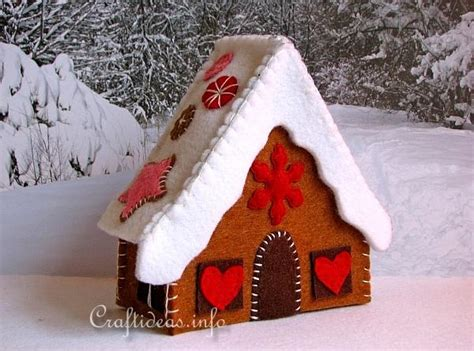 pattern felt house christmas craft project how to make a felt gingerbread house