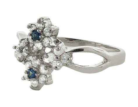 Blue Sapphire 4 4ct 0 4ct blue sapphire cluster flower wedding