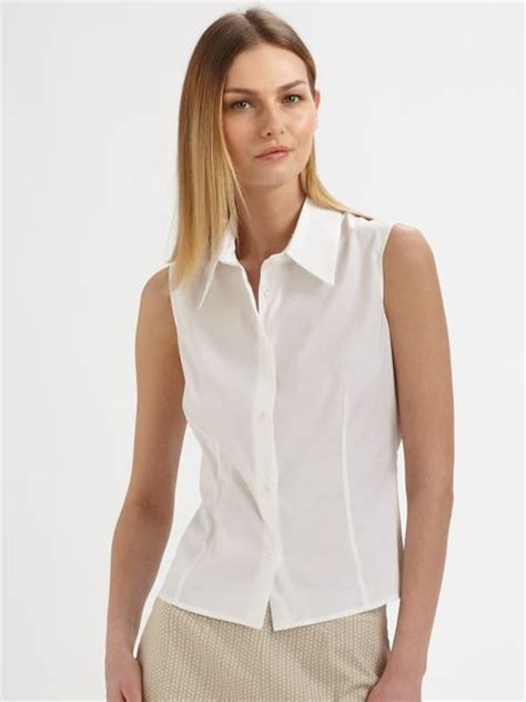 Sleeveless Top Blouse piazza sempione sleeveless blouse in white lyst