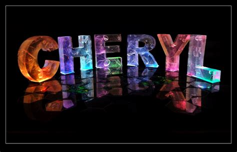 the name cheryl in 3d coloured lights