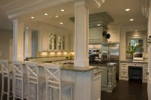 Kitchen Island With Columns 21st Century Bungalow Traditional Kitchen Other By