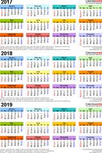 Kalender 2018 And 2019 2017 2018 2019 Calendar 4 Three Year Printable Excel
