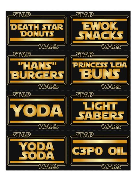 Star Wars Birthday Party For Under 75 Star Wars Birthday Party Ideas Wars Food Labels Template Free