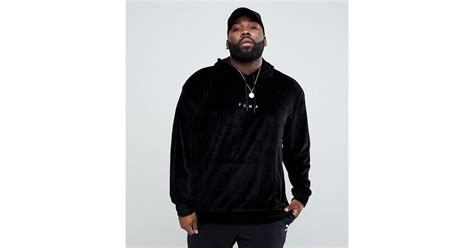 Hoodie Exclusive Hitam 1 plus velvet pullover hoodie in black exclusive to asos in black for lyst