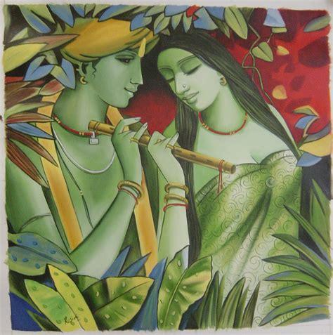 Handmade Paintings Of Radha Krishna - radha krishna painting handmade modern hindu religious