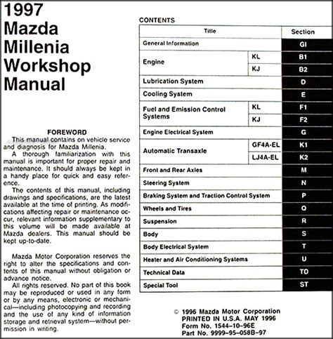 how to fix cars 1997 mazda millenia user handbook 1997 mazda millenia repair shop manual original