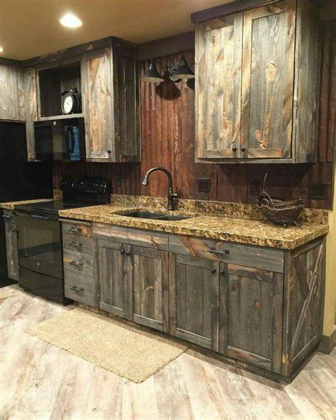 Fashioned Kitchen Cabinets by Barn Wood Cabinets But Add A Concrete Counter Top Farm