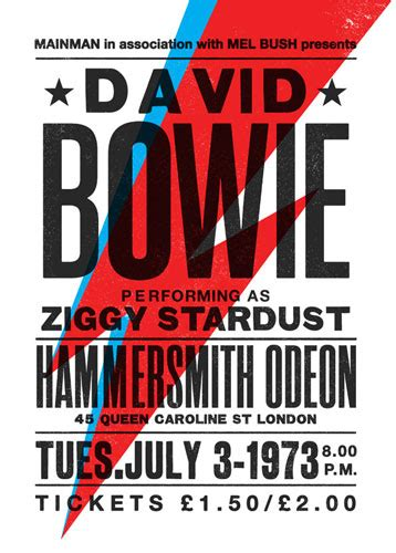 printable music poster david bowie ziggy stardust concert poster by the indoor