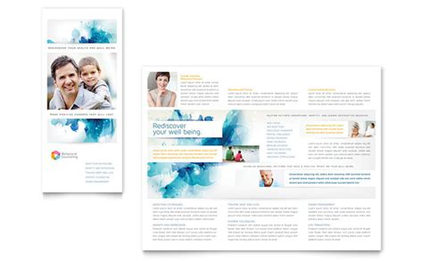 Behavioral Counseling Tri Fold Brochure Template Design Free Mental Health Brochure Templates