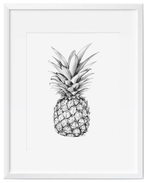 Pro Kitchen Faucet pineapple wall art art print black and white