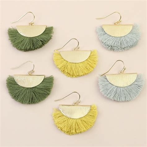 Tassel Drop Circle Earrings yellow tassel semi circle drop earrings in gold
