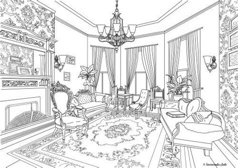 victorian living room  printable coloring page