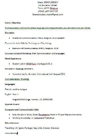 Curriculum Vitae Jobs by Exemple De Cv En Anglais Pour Un Stage Exemples De Cv