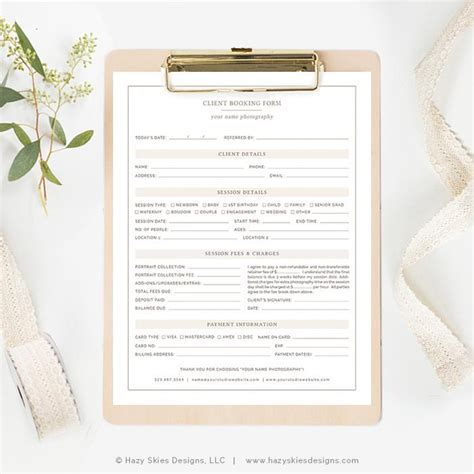 Photography Client Booking Form Organic Photography Booking Form Template Free