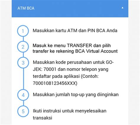bca atm bca convenient top up go pay for go jek users with e