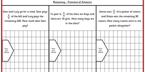 fraction of a number worksheet ks2 fractions of amounts ks2 reasoning test practice classroom secrets