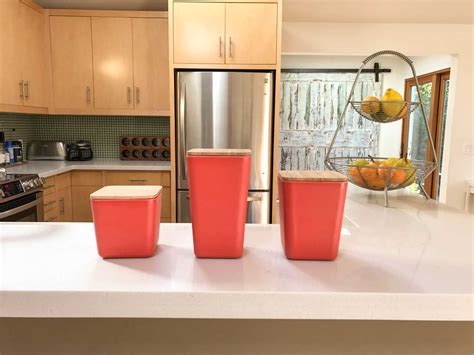 kitchen counter canisters bamboo fiber kitchen canister 3 set with airtight