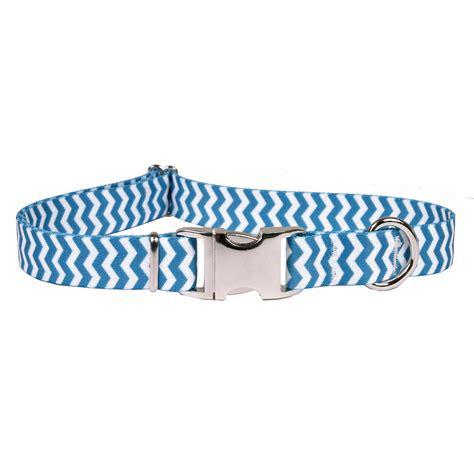 Sale Ukuran M Blueberry Premium Made In Usa Chevron Blueberry Premium Metal Buckle Collar