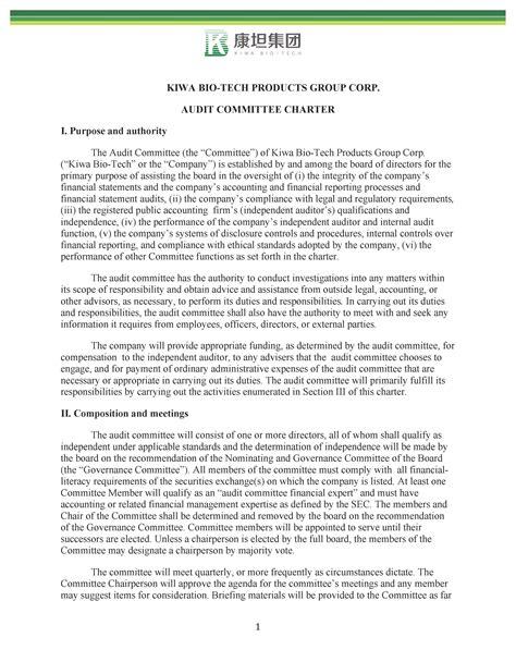Audit Committee Charter Kwbt Audit Charter Template
