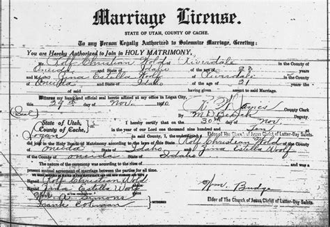 Lake County Marriage Records Salt Lake County Utgenweb Project