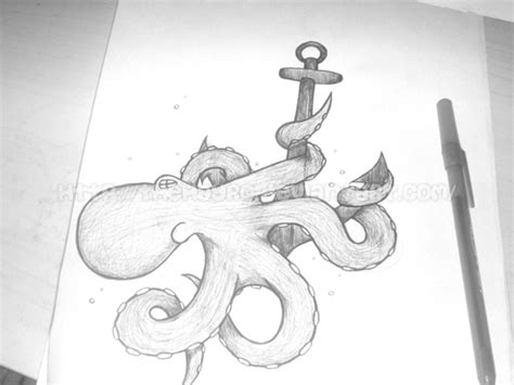 octopus with anchor pen sketch by thehayro on deviantart