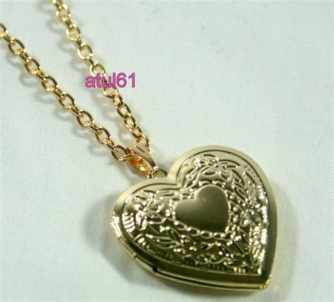 Bangs Chain Locket Necklace by Shaped Locket Pendant Necklace Gold Plated Vintage
