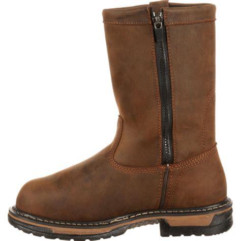 comfortable metatarsal boots rocky ironclad men s met guard steel toe pull on work boot