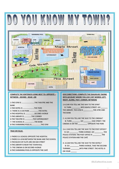 giving directions printable exercises prepositions of place giving directions exercises 1 the