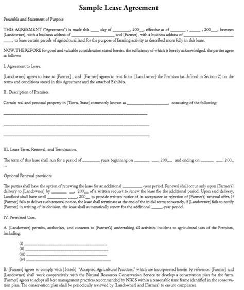 farm rental agreement template 12 free sle professional farm land lease agreement
