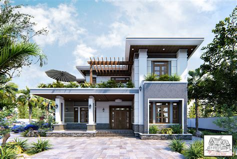 exterior house scene sketchup model  hoai nam