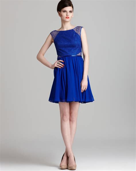 Supplier Neptune Dres By Galeri aqua dress lace inset fit flare in blue neptune lyst