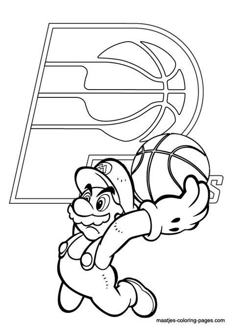 indiana basketball coloring pages indiana pacers and super mario nba coloring pages