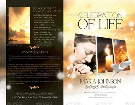 celebration of life funeral program brochure template by