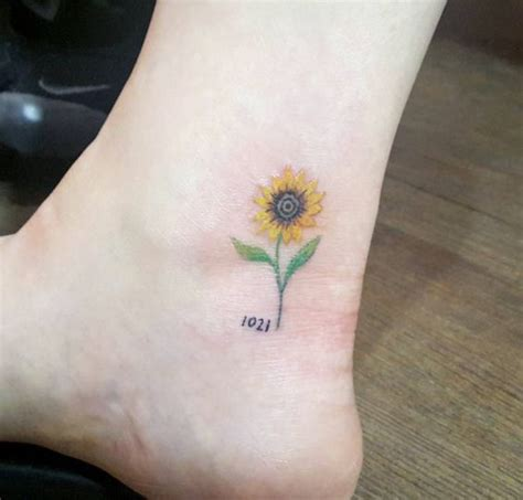 50 amazing sunflower tattoo ideas ankle tattoos
