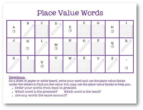College Letter Grade Values place values word work and words on