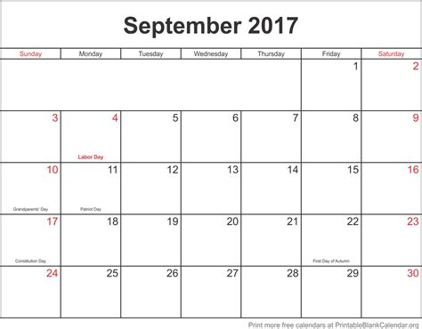 Free Printable Monthly Calendar September 2017 Monthly Calendar Printable Blank Calendar Org