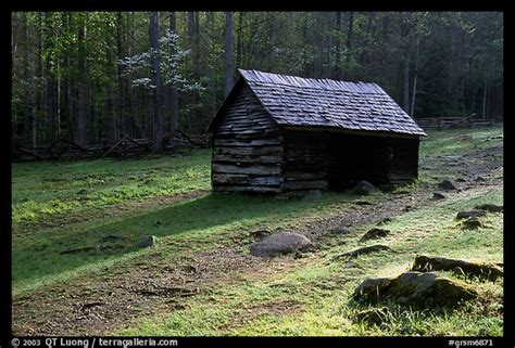 Great Smoky Mountains Log Cabin Picture Photo Jim Bales Log Cabin In Meadow Early